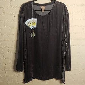 Eileen Fisher Rayon & Silk Velvet Top/Tunic Purple